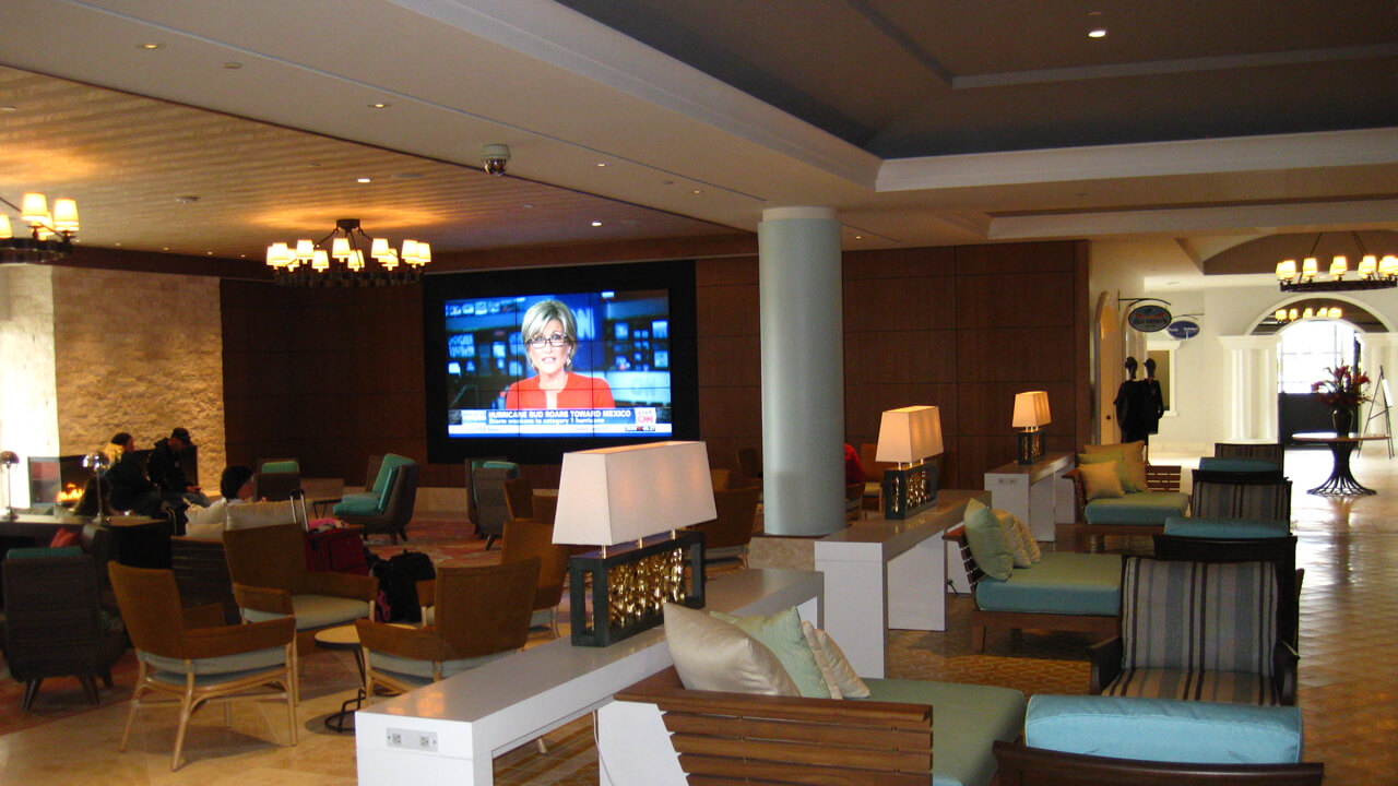 video wall in a hotel for directv